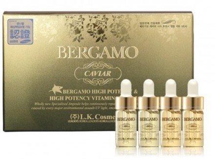 Набор ампульных сывороток с экстрактом черной икры BERGAMO Caviar high potency vitamin ampoule 13 мл*4шт: фото