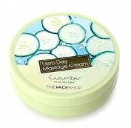 Крем очищающий с огурцом THE FACE SHOP Herb day massage cream cucumber 150 мл: фото