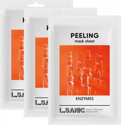 Обновляющая тканевая маска с энзимами L.SANIC ENZYMES PEELING MASK SHEET 25мл*3шт: фото