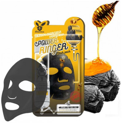 Набор масок тканевых с древесным углем и медом Elizavecca Black Charcoal Honey Deep Power Ringer Mask Pack 10 шт: фото