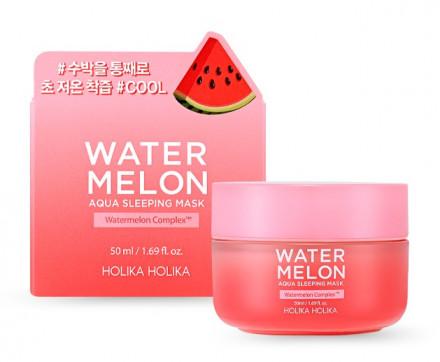 Маска ночная увлажняющая с экстрактом арбуза Holika Holika Water Melon Aqua Sleeping Mask 50 мл: фото