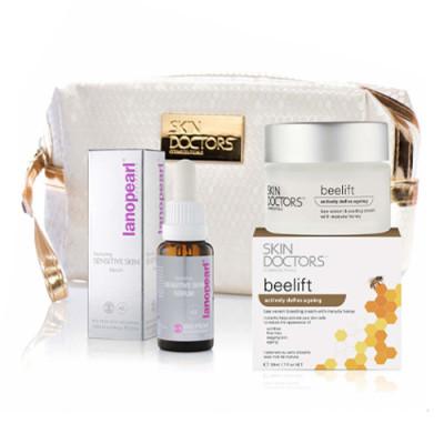 Набор Омоложение Skin Doctors Antiage: Nurturing Sensitive Skin Serum питательная сыворотка для чувствительной кожи, 25 мл. + Beelift омолаживающий крем для уменьшения возрастных изменений кожи 50мл. + КОСМЕТИЧКА: фото